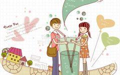 浪漫的爱情卡通图片
