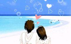 情侣看海浪漫背影图片