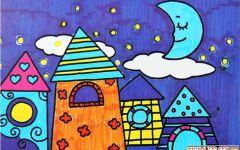儿童绘画建筑物