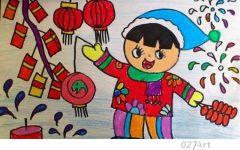 欢度春节儿童画