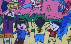 儿童画风筝四个