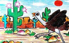 鸵鸟儿童画图片
