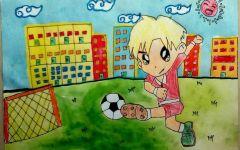 绘画足球三年级