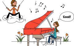 情侣钢琴卡通图片