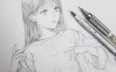素描画人物女孩
