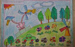 儿童绘画未来的学校
