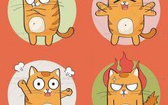 橘猫情侣卡通图片