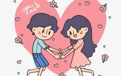 情侣手拉手卡通图片