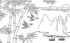 竹子素描画图片