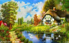 风景画油画简单