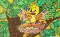 小鸟家园儿童画