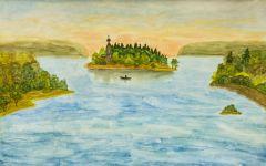 浪漫的岛屿绘画
