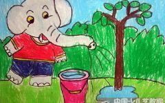 浇树的绘画