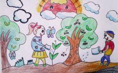 爱护树的绘画