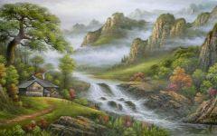 山乡风景图绘画