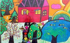 学校风景图绘画