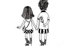 手绘情侣图画