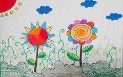 春天的花朵儿童画