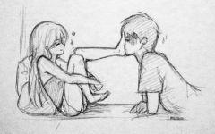 情侣素描画
