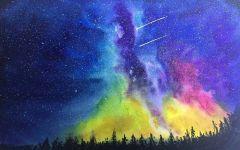 水彩画风景星空