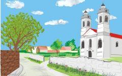 校园风景画插图