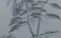 山水风景画素描