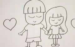 情侣画画简单