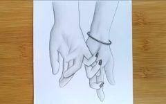 素描画情侣牵手