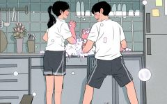韩国插画情侣