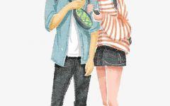 情侣逛街图片卡通