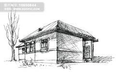 素描画老房子图片