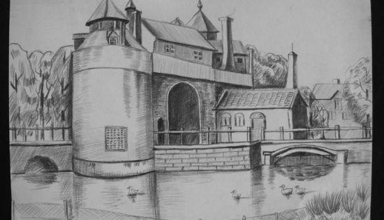 乡村的房子素描画