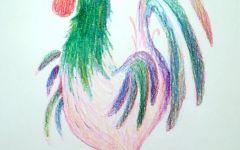 公鸡彩铅图画