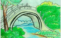 小桥画画图片