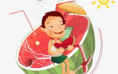 吃西瓜动漫图片