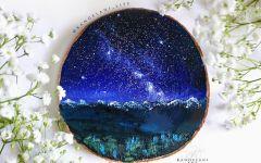 星空圆木板画