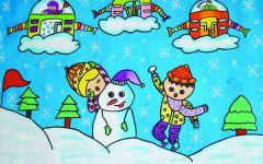 堆雪人儿童画