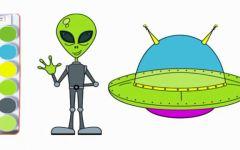 ufo简笔画彩色