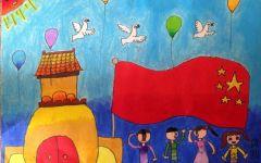 儿童画国旗