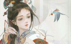 复古好看的女生图片手绘