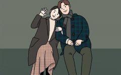 手绘卡通时尚情侣图片